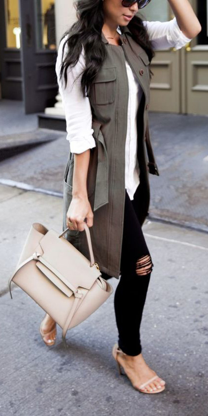 black-skinny-jeans-tan-shoe-pumps-tan-bag-white-top-blouse-green-olive-vest-utility-brun-spring-summer-lunch.jpg