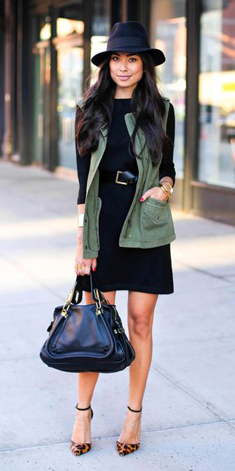 black-dress-tshirt-belt-hat-brun-black-bag-cognac-shoe-pumps-leopard-print-green-olive-vest-utility-fall-winter-lunch.jpg