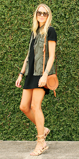 black-dress-tshirt-cognac-bag-tan-shoe-sandals-blonde-sun-green-olive-vest-utility-spring-summer-weekend.jpg