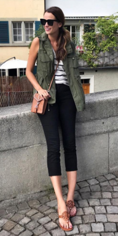 black-slim-pants-hairr-pony-sun-cognac-bag-cognac-shoe-sandals-green-olive-vest-utility-spring-summer-weekend.jpg