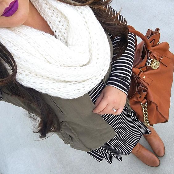 black-dress-stripe-tshirt-white-scarf-cognac-bag-cognac-shoe-booties-green-olive-vest-utility-fall-winter-weekend.jpg