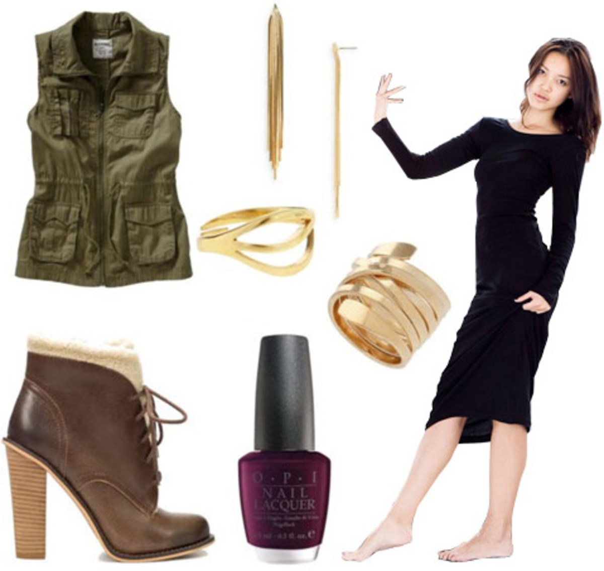 black-dress-bodycon-sweater-brown-shoe-booties-nail-hoops-green-olive-vest-utility-fall-winter-lunch.jpg