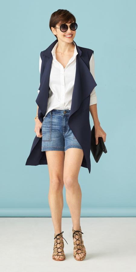 blue-med-shorts-white-collared-shirt-hairr-sun-tan-shoe-sandalh-blue-navy-vest-utility-spring-summer-lunch.jpg