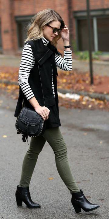 green-olive-skinny-jeans-white-tee-stripe-turtleneck-black-vest-utility-black-bag-blonde-sun-black-shoe-booties-fall-winter-lunch.jpg