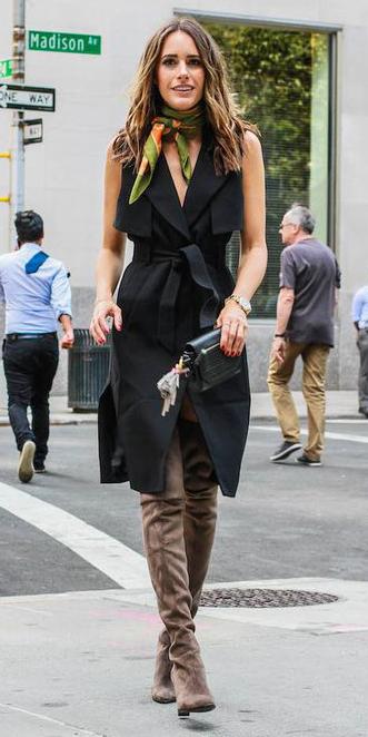 black-vest-utility-trench-brown-shoe-boots-green-olive-scarf-neck-print-hairr-spring-summer-dinner.jpg