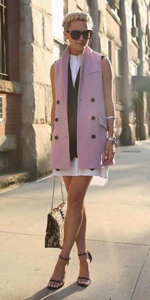 white-dress-shirt-layer-pink-light-vest-tailor-blonde-braid-sun-tan-bag-leopard-print-black-shoe-sandalh-spring-summer-lunch.jpg