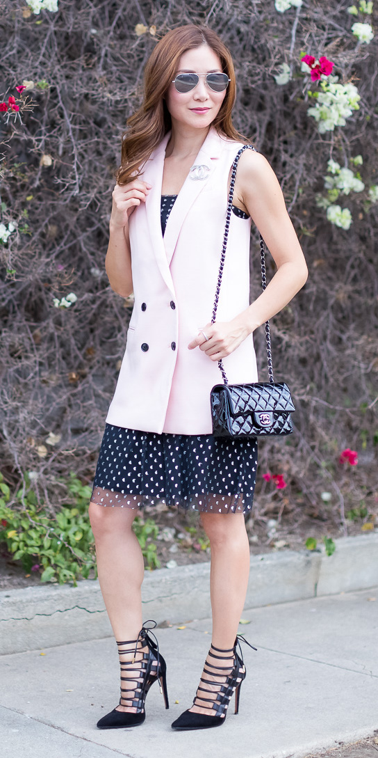 pink-light-vest-tailor-black-dress-tank-hairr-sun-black-bag-black-shoe-pumps-spring-summer-dinner.jpg
