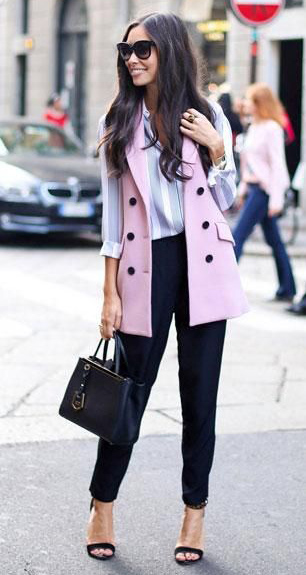 black-joggers-pants-blue-light-top-blouse-brun-sun-black-bag-black-shoe-sandalh-pink-light-vest-tailor-spring-summer-work.jpg