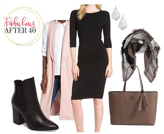 black-dress-shift-bodycon-brown-bag-tote-grayl-scarf-plaid-earrings-pink-light-vest-tailor-black-shoe-booties-fall-winter-work.jpg