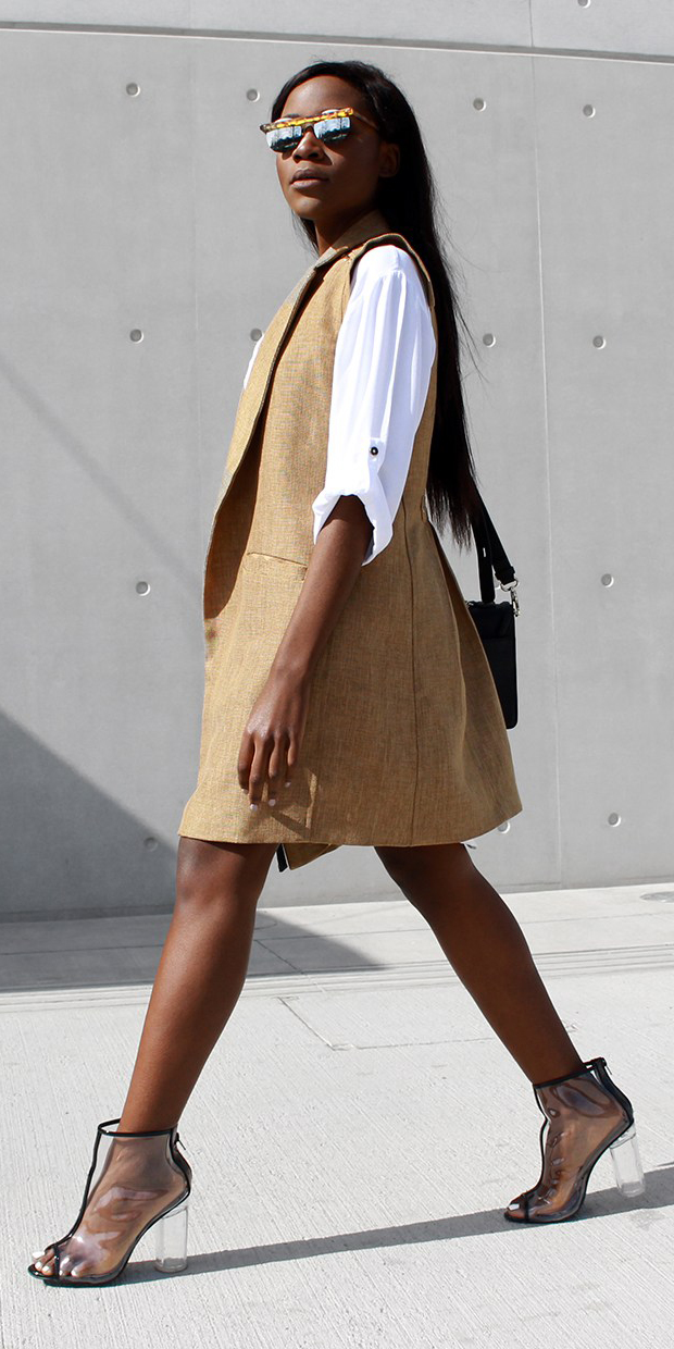 white-top-blouse-brun-clear-shoe-booties-sun-tan-vest-tailor-spring-summer-lunch.jpg