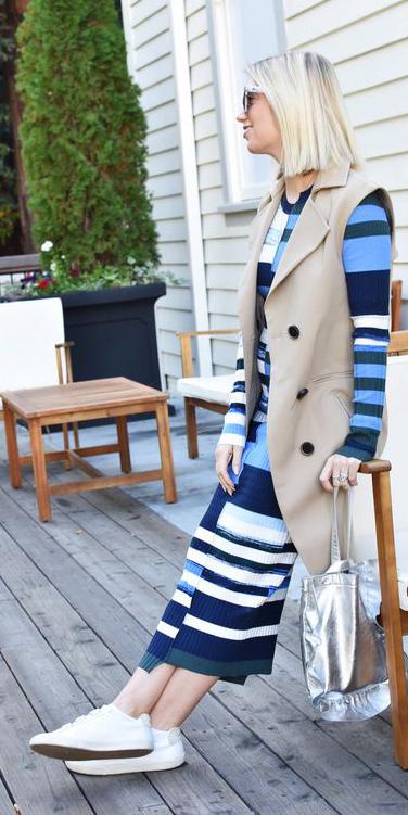 blue-med-dress-sweater-midi-stripe-tan-vest-tailor-white-shoe-sneakers-lob-blonde-gray-bag-silver-blue-navy-dress-spring-summer-lunch.jpg