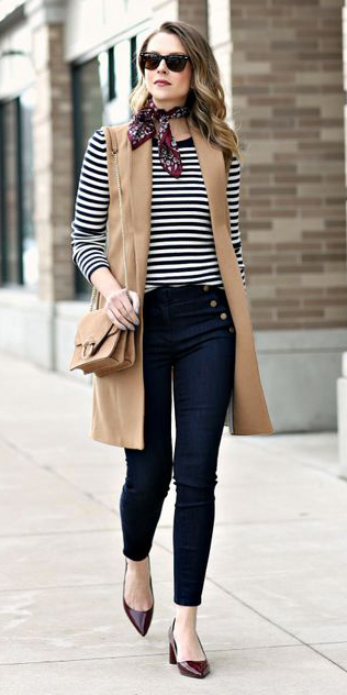 blue-navy-skinny-jeans-burgundy-scarf-neck-blue-navy-tee-stripe-tan-vest-tailor-tan-bag-blonde-burgundy-shoe-pumps-fall-winter-lunch.jpg