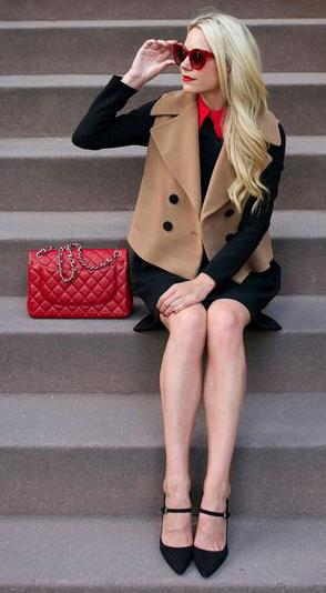 black-dress-red-bag-tan-vest-tailor-blonde-sun-black-shoe-pumps-swing-fall-winter-lunch.jpg