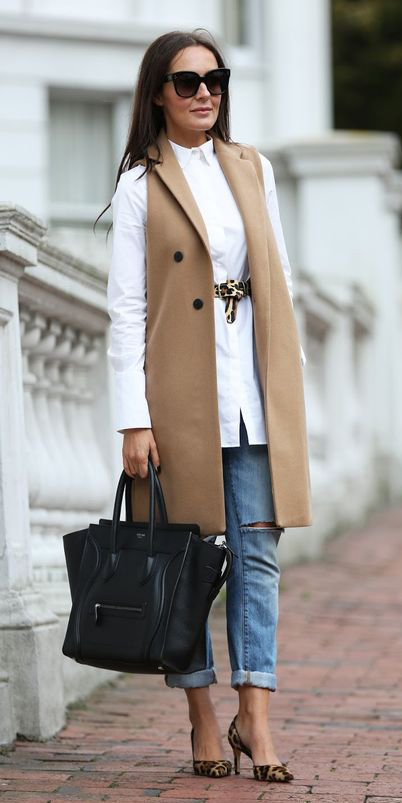 blue-light-skinny-jeans-white-collared-shirt-belt-leopard-print-hairr-sun-camel-vest-tailor-black-bag-brown-shoe-pumps-fall-winter-work.jpg