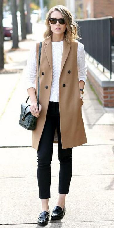 black-skinny-jeans-white-sweater-sun-lob-blonde-black-bag-camel-vest-tailor-black-shoe-loafers-fall-winter-lunch.jpg