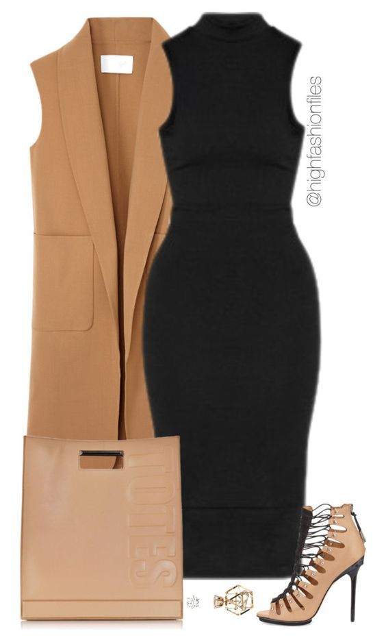 black-dress-bodycon-tan-bag-tan-shoe-sandalh-camel-vest-tailor-spring-summer-dinner.jpg
