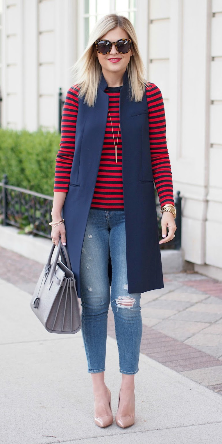 blue-med-skinny-jeans-red-tee-stripe-blonde-sun-tan-shoe-pumps-gray-bag-blue-navy-vest-tailor-fall-winter-lunch.jpg