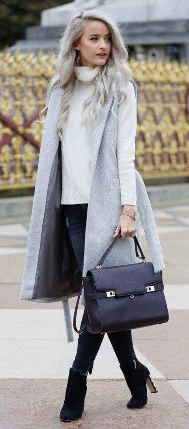 white-sweater-turtleneck-grayl-vest-tailor-black-shoe-booties-blonde-fall-winter-lunch.jpg