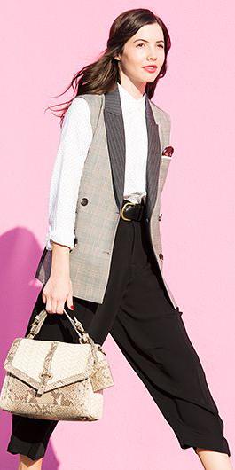 black-culottes-pants-white-collared-shirt-grayl-vest-tailored-tan-bag-fall-winter-brun-work.jpg