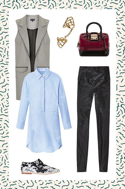 black-leggings-blue-light-collared-shirt-tunic-grayl-vest-tailor-burgundy-bag-wear-outfit-fashion-fall-winter-white-shoe-brogues-work.jpg