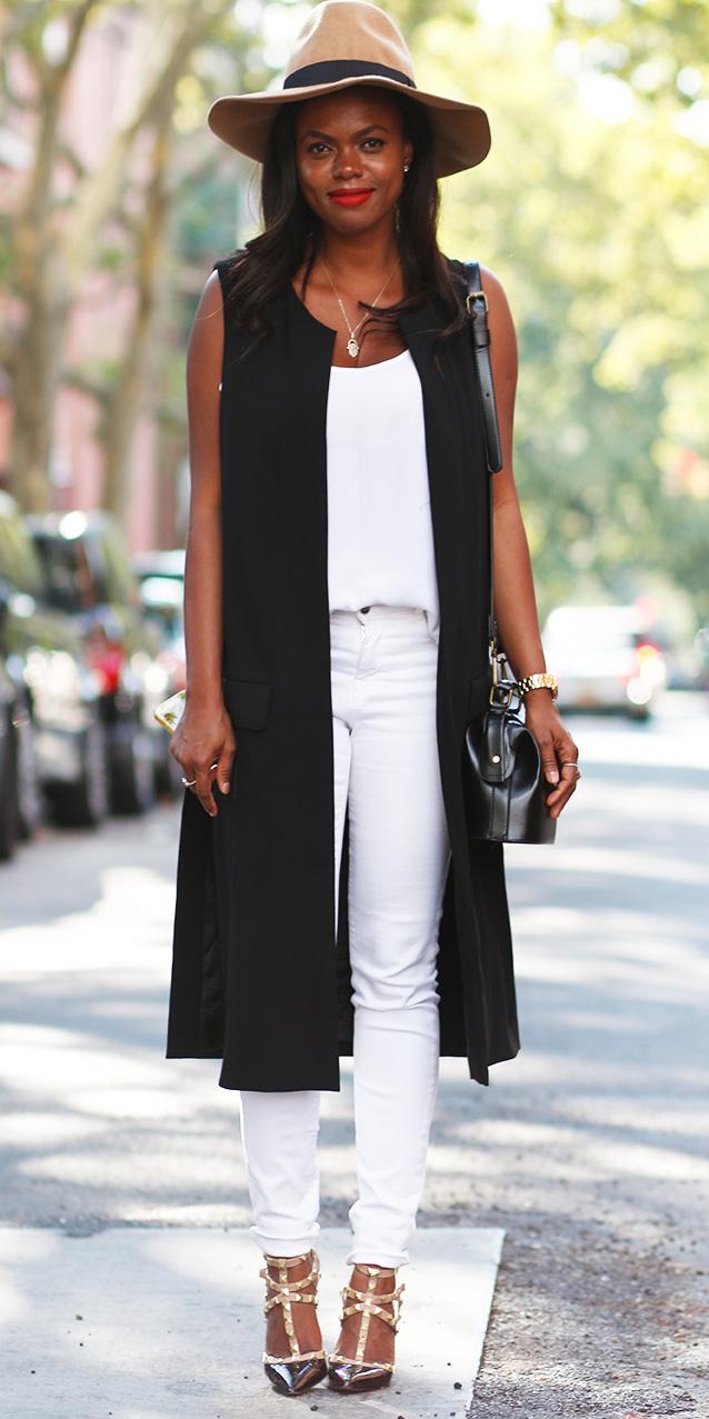white-skinny-jeans-white-cami-black-shoe-pumps-hat-brun-black-bag-black-vest-tailor-fall-winter-lunch.jpg
