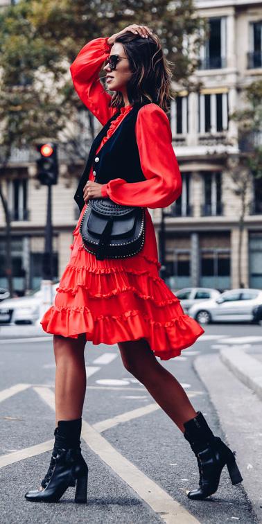 black-vest-tailor-black-bag-brun-lob-sun-ruffle-black-shoe-booties-red-dress-peasant-fall-winter-lunch.jpg