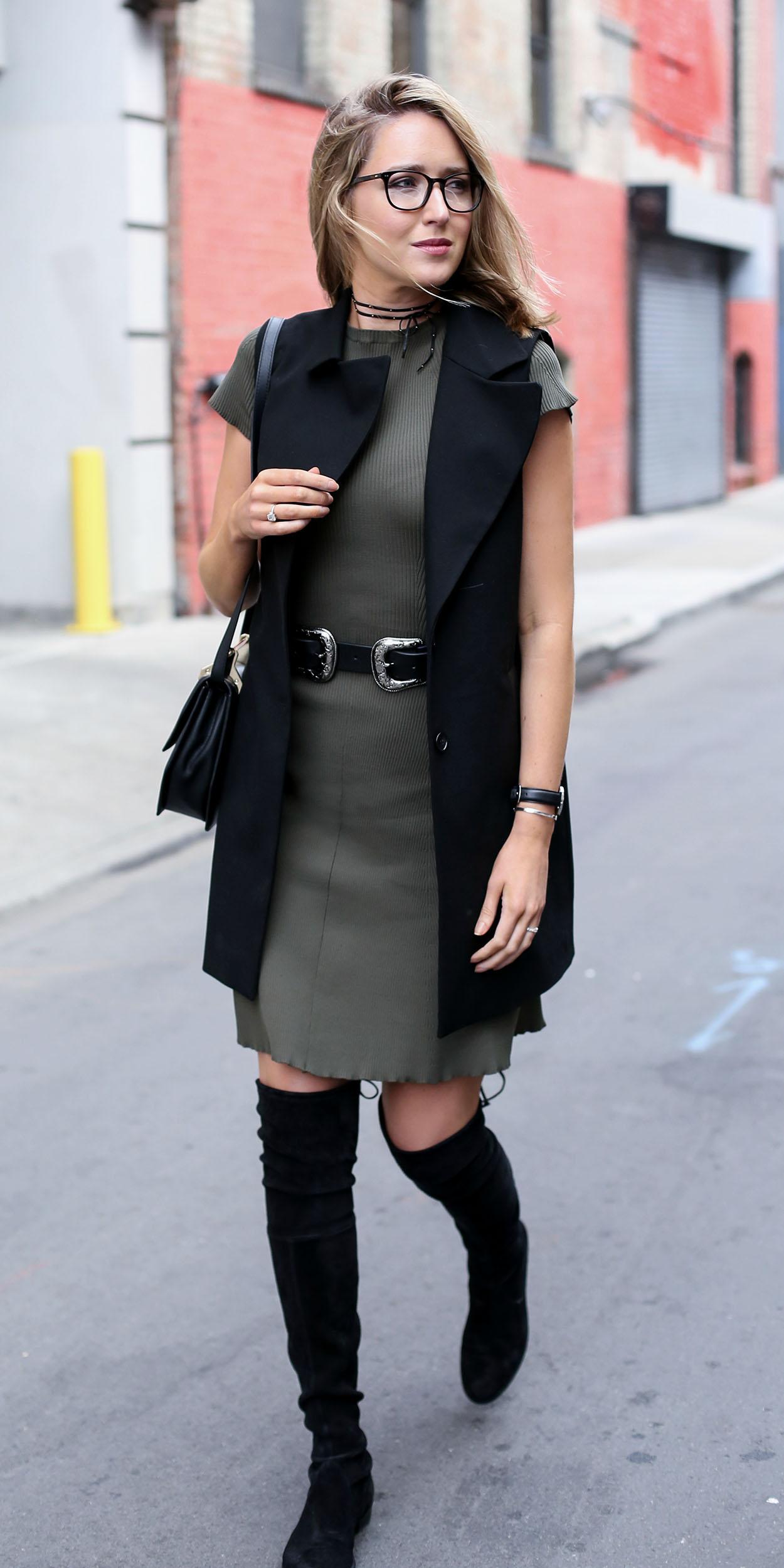 green-olive-dress-tshirt-wide-belt-choker-blonde-black-bag-black-shoe-boots-otk-black-vest-tailor-fall-winter-lunch.jpg