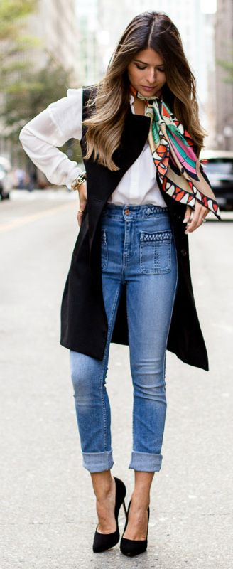 blue-med-skinny-jeans-white-top-blouse-pink-scarf-print-hairr-black-shoe-pumps-black-vest-tailor-fall-winter-lunch.jpg