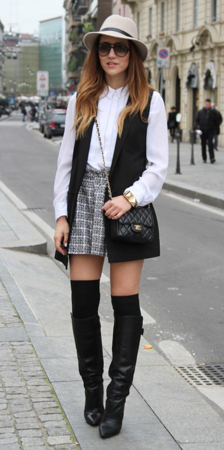 grayl-mini-skirt-plaid-white-top-blouse-black-vest-tailor-black-bag-socks-black-shoe-boots-hat-fall-winter-hairr-lunch.jpg