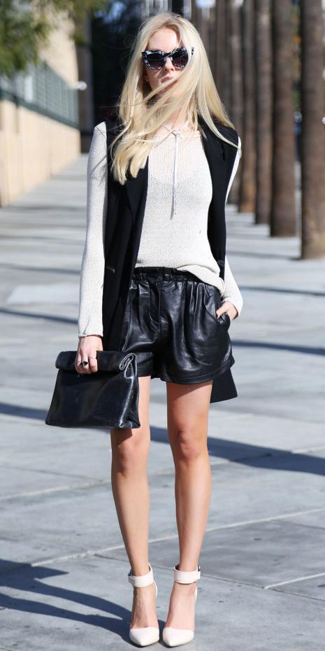 black-shorts-necklace-black-vest-tailor-blonde-sun-leather-white-shoe-pumps-black-bag-clutch-spring-summer-dinner.jpg