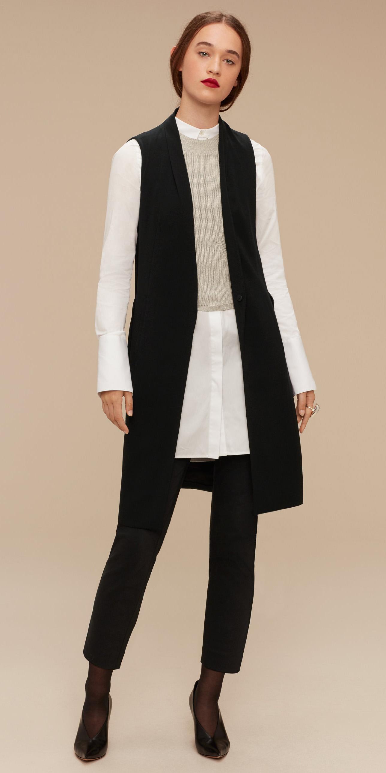 black-slim-pants-layer-white-collared-shirt-tunic-hairr-pony-black-shoe-pumps-black-vest-tailor-fall-winter-dinner.jpg