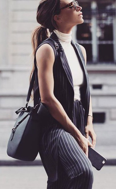 black-joggers-pants-black-vest-tailor-pinstripe-black-bag-white-tee-turtleneck-blonde-pony-fall-winter-work.jpg