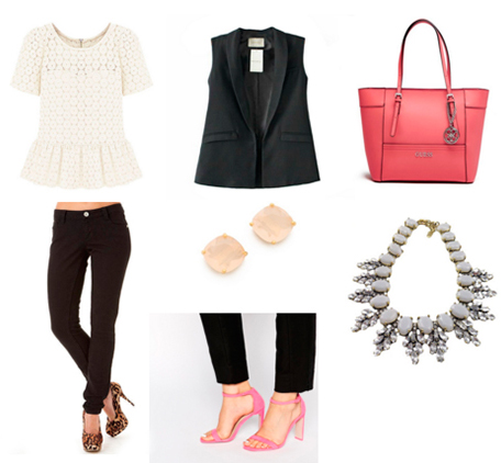 black-skinny-jeans-white-top-black-vest-tailor-pink-bag-tote-studs-pink-shoe-sandalh-bib-necklace-howtowear-fashion-style-outfit-spring-summer-work.jpg