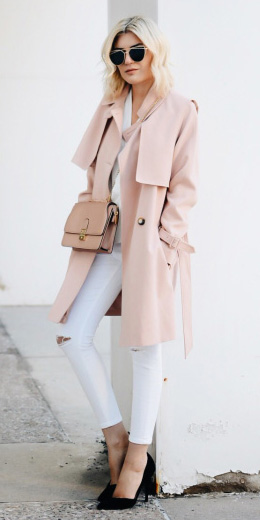 white-skinny-jeans-black-shoe-pumps-sun-pink-bag-trench-pink-light-jacket-coat-fall-winter-blonde-lunch.jpg