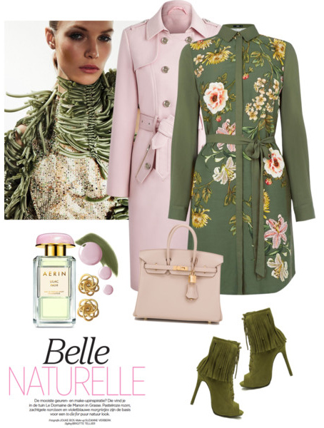 green-olive-dress-shirt-floral-print-pink-light-jacket-coat-trench-pink-bag-green-shoe-booties-studs-fall-winter-lunch.jpg