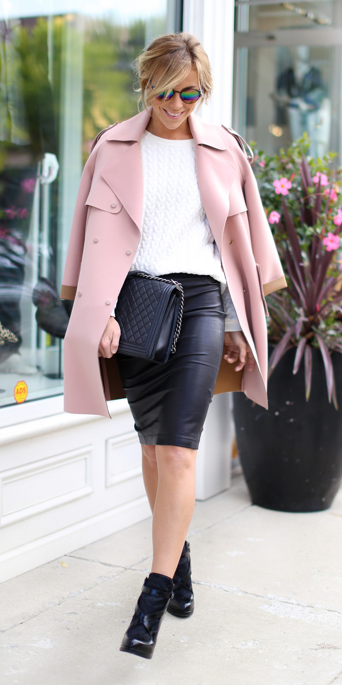 black-pencil-skirt-leather-black-bag-white-sweater-blonde-bun-sun-black-shoe-booties-pink-light-jacket-coat-trench-fall-winter-lunch.jpg