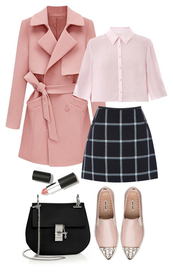 black-mini-skirt-windowpane-print-pink-shoe-flats-black-bag-pink-light-top-blouse-pink-light-jacket-coat-trench-fall-winter-lunch.jpg