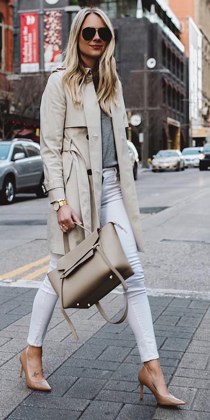 white-skinny-jeans-tan-bag-tan-shoe-pumps-sun-blonde-tan-jacket-coat-trench-spring-summer-lunch.jpg