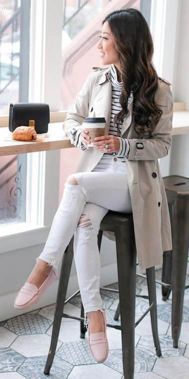 white-skinny-jeans-pink-shoe-loafers-stripe-white-tee-turtleneck-brun-tan-jacket-coat-trench-spring-summer-weekend.jpg
