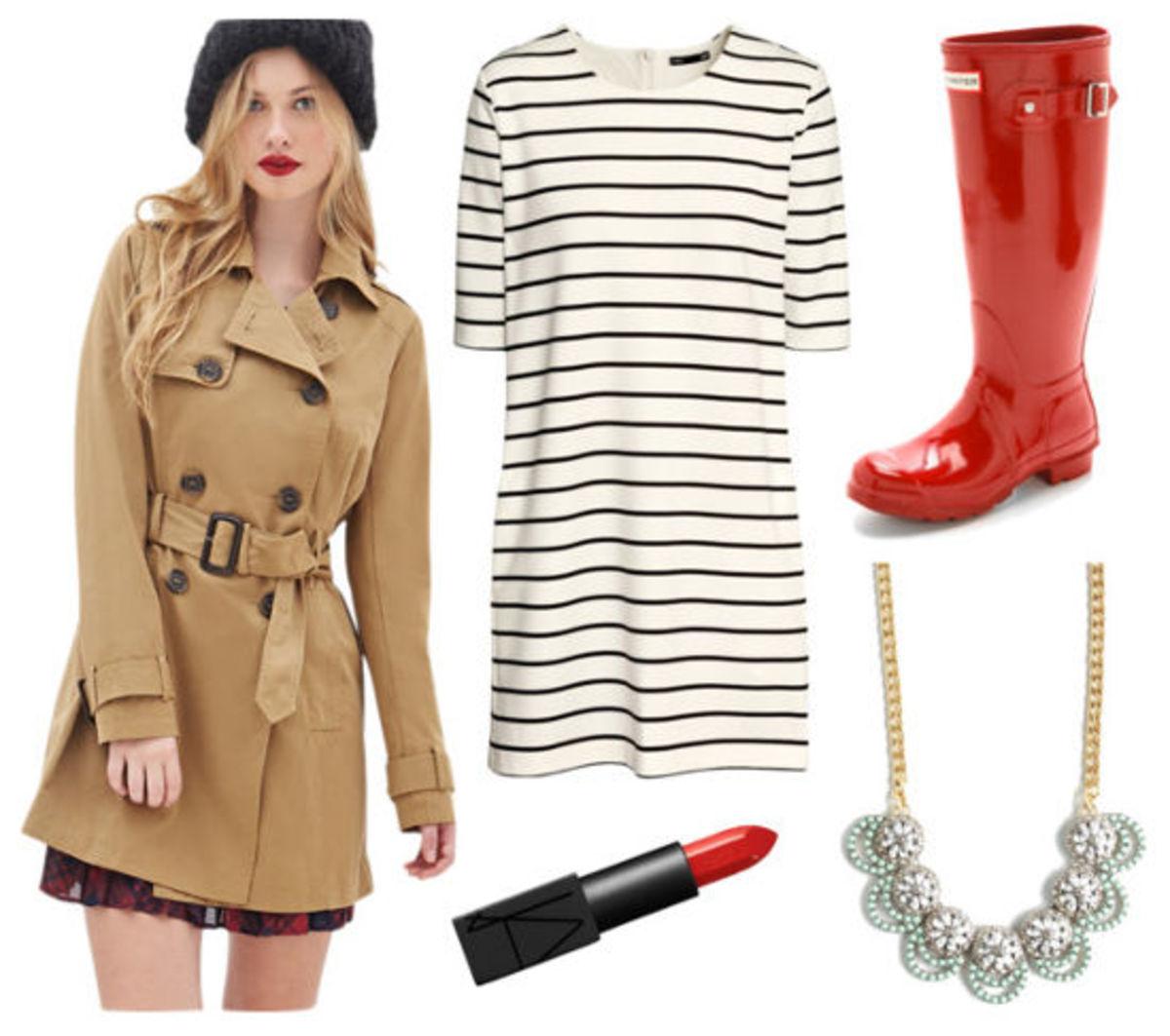 white-dress-tshirt-stripe-tan-jacket-coat-trench-red-shoe-boots-wellies-rain-bib-necklace-spring-summer-lunch.jpg
