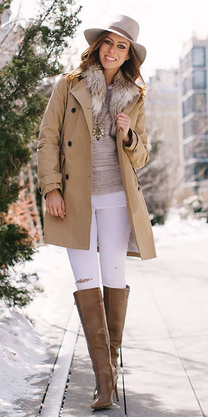 white-skinny-jeans-tan-sweater-hairr-hat-cognac-shoe-boots-tan-jacket-coat-trench-fall-winter-lunch.jpg