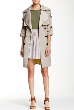 white-mini-skirt-green-olive-tee-tan-jacket-coat-trench-cognac-shoe-sandalh-bcbgeneration-howtowear-fashion-style-outfit-spring-summer-lunch.jpg