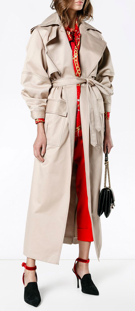 red-slim-pants-red-top-blouse-hairr-black-shoe-pumps-tan-jacket-coat-trench-fall-winter-lunch.jpg