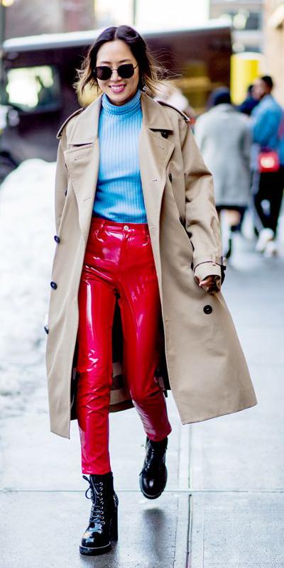 red-skinny-jeans-patentleather-blue-light-sweater-turtleneck-brun-pony-sun-black-shoe-booties-tan-jacket-coat-trench-fall-winter-lunch.jpg