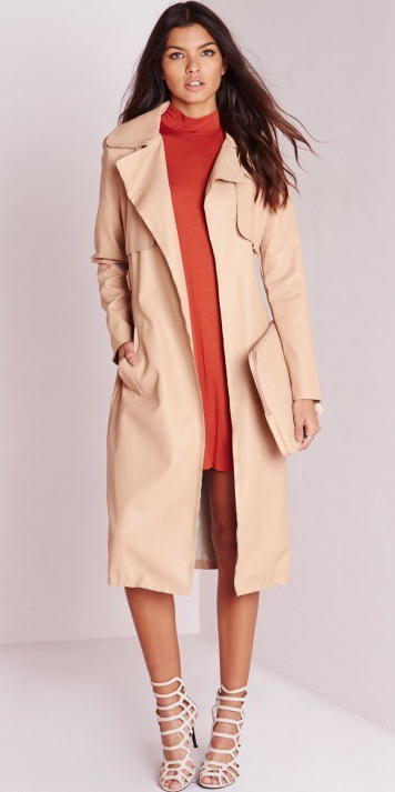 orange-dress-mini-hair-tan-bag-clutch-tonal-tan-jacket-coat-trench-spring-summer-dinner.jpg