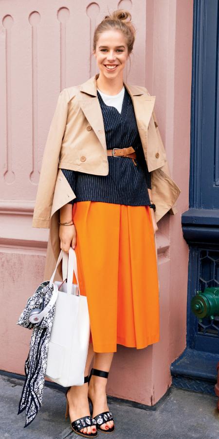 orange-midi-skirt-tan-jacket-coat-trench-blonde-bun-black-shoe-sandalh-white-bag-fall-winter-lunch.jpg