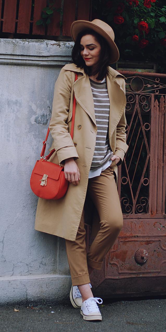 camel-chino-pants-white-shoe-sneakers-stripe-hat-hairr-red-bag-tan-jacket-coat-trench-fall-winter-weekend.jpg
