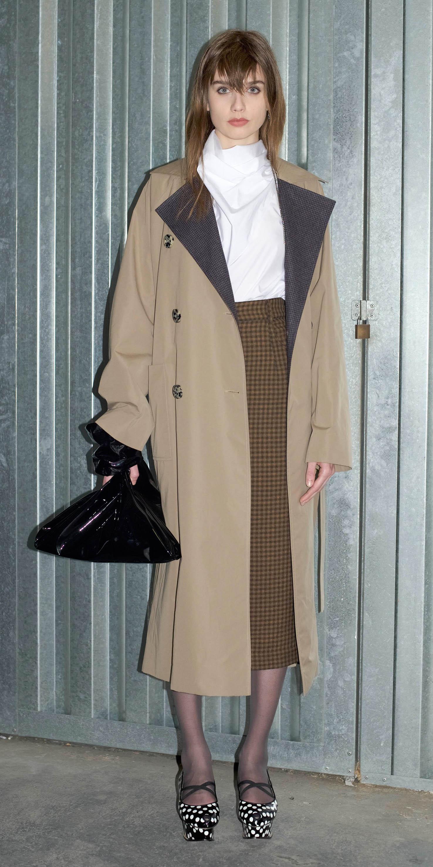brown-midi-skirt-black-tights-hairr-tan-jacket-coat-trench-fall-winter-dinner.jpg