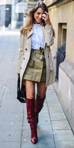 tan-mini-skirt-hairr-red-shoe-boots-white-top-blouse-tan-jacket-coat-trench-fall-winter-dinner.jpg