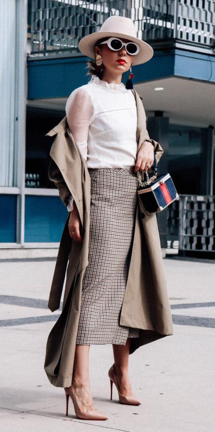 tan-midi-skirt-white-top-blouse-hat-sun-blue-bag-tan-shoe-pumps-tan-jacket-coat-trench-spring-summer-lunch.jpg